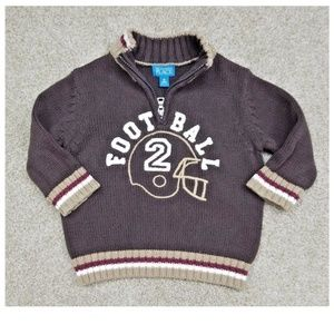 18M Knit FOOTBALL zip Pull Over sweater